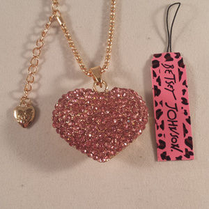 Betsey Johnson Pink Heart Necklace + Free Gift